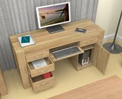 Building Wooden Computer Desk by Furniture Unpolished Oak Wood Computer Desk Placed On Light Gray