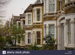 victorian terraced homes houses in south east london stock photo