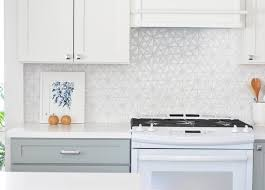 White Kitchen Tile Backsplash White Iridescent Hexagon Tile Kitchen Backsplash Transitional