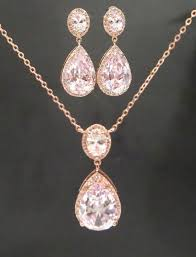 rose gold necklace earrings images Wedding jewelry sets for brides consisting of rose gold necklace jpg