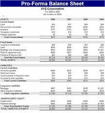 download pro forma balance sheet
