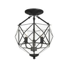 Home Decorators Hampton Bay by Hampton Bay Grayton 3 Light Black Faceted Glass Semi Flush Mount