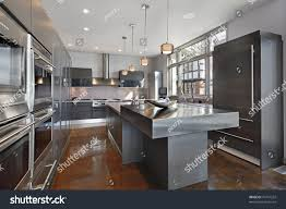 ultra modern kitchens ultra modern kitchen stainless steel island stock photo 70741252
