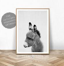 donkey print nursery animal wall art baby shower gift kids zoom