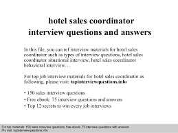 Sales Coordinator Resume Hotel Sales Coordinator Interview Questions And Answers