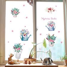 potted flowers colorful bonsai wall stickers cabinet window glass