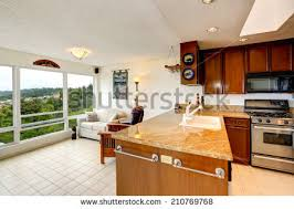 view kitchen living room modern flat stock photo 439286914