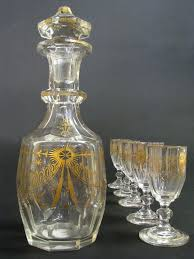 Baccarat Crystal Barware 19th C French Baccarat Crystal Liquor Set Antique Glassware