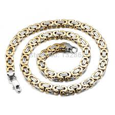 2015 men s jewelry 8mm 60cm new arrival 22 6 8mm men gold silver stainless steel solid byzantine chain