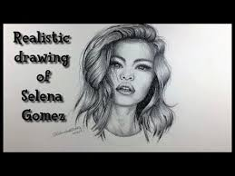 realistic drawing of selena gomez charcoal pencils selfie