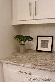 best ideas about painted laminate countertops pinterest arborite typhoon bordeaux creme laminate countertop with white cabinets subway tile backsplash and sherwin williams