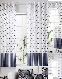 polka dots bay window blue and white toile curtains