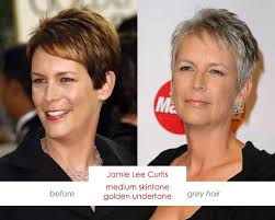 how to get jamie lee curtis hair color make up charts skin tone charts for grey haired