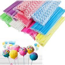 wholesale lollipop sticks 50 100pcs colorful lollipop stick 15cm paper cake pop sticks candy