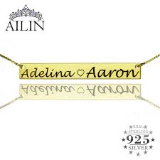 Name Bar Necklace Aliexpress Com Buy Personalized 2 Name Bar Necklace Gold Color