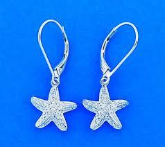 white gold dangle earrings diamond starfish lever back dangle earrings 14k white gold