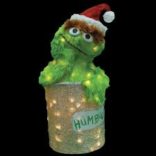 Home Depot Christmas Lawn Decorations Sesame Street 18 In Led 3d Pre Lit Oscar The Grouch 90105 Mp1