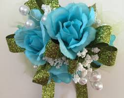 Teal Corsage Prom Wrist Corsage Etsy