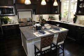 Beautiful Black Kitchen Cabinets With Square Marble Island And - Black laminate kitchen cabinets