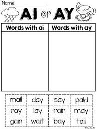 ai ay worksheets and activities no prep word sorts phonics