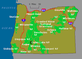map of oregon near crater lake wildernet oregon national forests and parks
