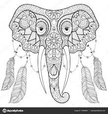 zentangle indian elephant with bird feathers in boho chic style