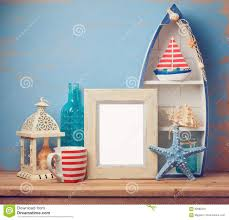 summer home decor poster frame mock up template with summer home decor stock image