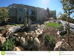 Home Landscape New Luxury Desert Golf Course Home Front Entrance Royalty Free