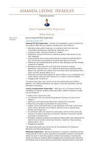 Supervisor Resume Examples by Junior Engineer Resume Samples Visualcv Resume Samples Database