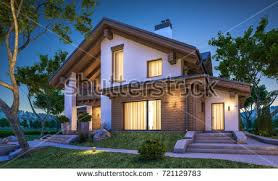 chalet house 3d rendering modern cozy house chalet stock illustration 721129783