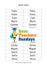 spanish names lesson plan powerpoint with audio u0026 list of