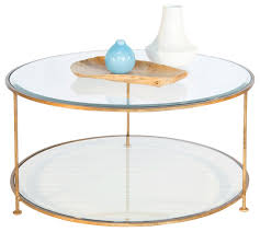 glass coffee table with glass shelf coffee table worlds away gold leaf iron round with pertaining to