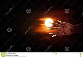 halloween background devil human hand with long fingernail or devil hand on full moon night