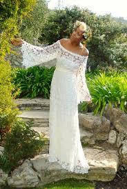 hippie wedding dresses handmade bell sleeve crochet lace bohemian wedding dress