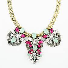 necklace gold pink images Crystal blooms necklace gold bib necklace with pink mint jpg