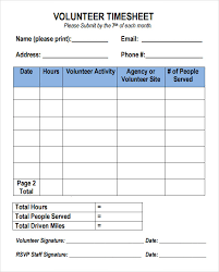 sample volunteer timesheet u2013 9 example format