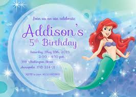 mermaid ariel printable birthday invitation