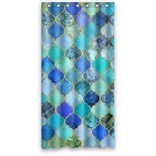 casablanca blues moroccan style quatrefoil print shower curtain