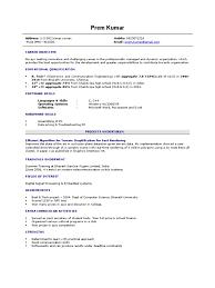Resume For Computer Science Fresher Resume Sample