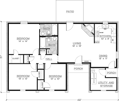 2 Bedroom House Floor Plan 2 Bedroom House Plans 1000 Square Feet Home Plans Homepw26841