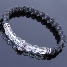 crystal stone bracelet images White crystal lava rock healing stone bracelet with silver skull jpg