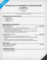 insurance coordinator resume hr coordinator resume project