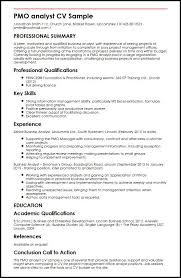 Business Analyst Job Resume by Pmo Analyst Cv Sample Myperfectcv