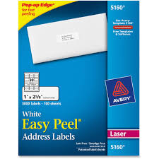 Avery Template 30 Labels Per Sheet by Avery 5160 Easy Peel White Laser Mailing Labels Permanent Adhesive