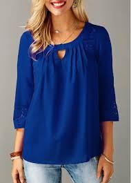 royal blue blouse top keyhole neckline laser cut royal blue blouse modlily com usd