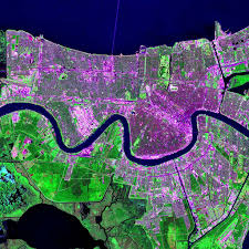 New Orleans Elevation Map by Maps Urban Landsat Sedac
