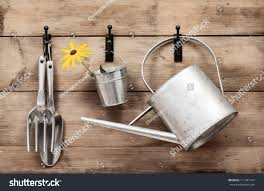 how to hang tools in shed garden tools hanging watering can on stock photo 111481544