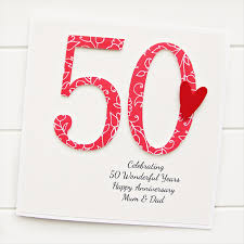 50th wedding anniversary greetings 50th anniversary custom card personalised wedding husband
