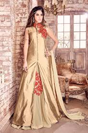 Stunningly by Stunningly Embroidered Beige Color Designer Georgette Sharara Top