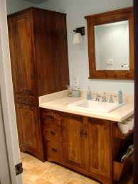 bathroom vanity with linen tower wormy maple rustic vanity and linen tower